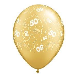 "PRINT (50th Birthday/Anniversary) Latex Balloons - 11"" Helium Quality"
