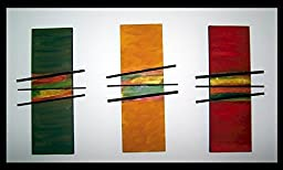 Large Triptych Mixed Media Textured Painting. Each Piece is 16x12