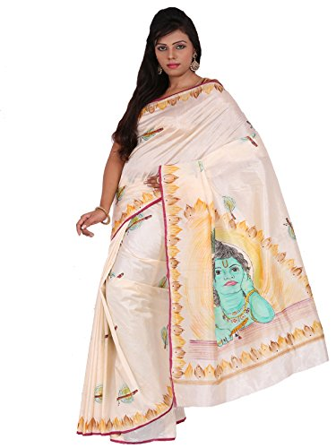 Alankrita Dupion Raw Silk Brush Painted Kanchipuram Art Silk Sarees With Stones(Kesar Badam )