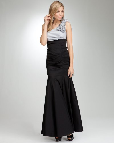 Bebe One Shoulder Ruffle Sequin Gown   WEB EXCLUSIVE SILVER BLACK