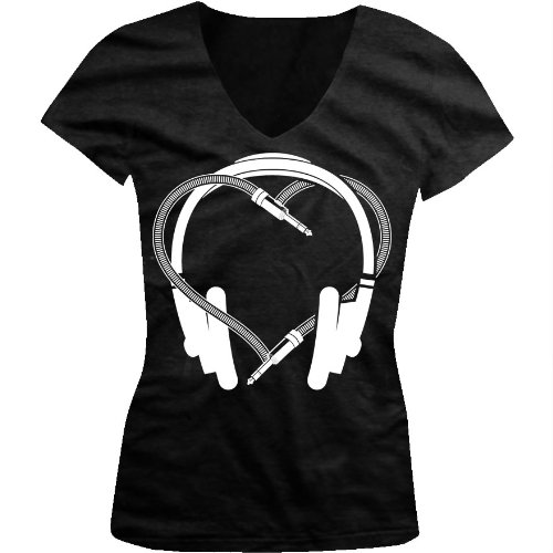 Heart Headphones Ladies Junior Fit V-Neck T-Shirt (Black, Small)