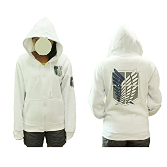Rulercosplay Attack on Titan the Survey Corps Eren Cosplay Hoodie - White