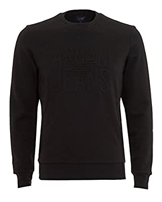 Mens Armani Embossed Crew Sweatshirt In Black