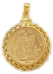 COIN pendant 20 Franc/Angel Rooster Gold Filled Rope Coin Bezel