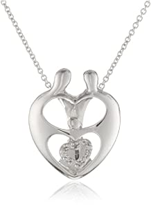 Sterling Silver Diamond MOM and Child Heart Pendant Necklace (0.02 cttw, I-J Color, I3 Clarity), 18