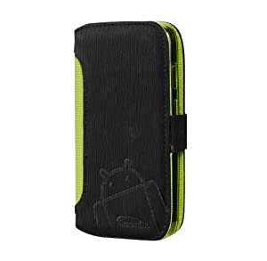 Moto G Case, Cruzerlite Bugdroid Circuit Intelligent Wallet Flip Case Compatible for Motorola Moto G 2013 - Black/Lime