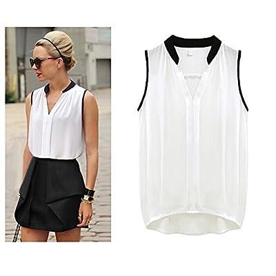 Fashion Story Women Summer Loose Chiffon Sleeveless Vest Shirt Blouse Tops