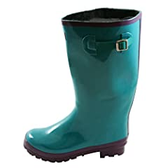 Wide Calf Wellies - Fit up to 18 inch calf - Glossy Teal Blue - Fleece Lined