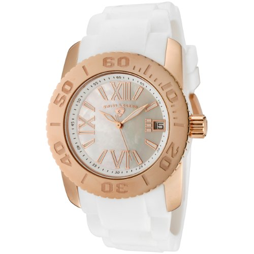 Swiss Legend Women&#8217;s 10114-RG-02MOP Commander White Polyurethane and Rose Gold Tone Watch