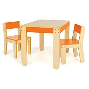 Little Ones Table And Chairs - Orange by P'kolino