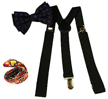Brand New Awesome Polka Dot Purple Bowtie & Black Suspender Sets