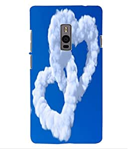 ColourCraft Cloud Couple Hearts Design Back Case Cover for OnePlus Two