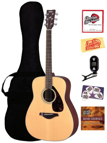 Yamaha FG700S Folk Acoustic Guitar Bundle with Gearlux Gig Bag, Austin Bazaar Instructional DVD, Strap, Strings, Picks, and Polishing Cloth - Natural