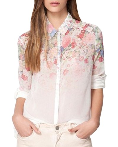 HaboZoo Womens Fashion Flower Print Long Sleeve Lapel Collar Blouse Small