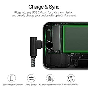 Phone Charger 90 Degree Cable 3 Pack(6/10/10 FT) Extra Long Nylon Braided Charging&Syncing Cord Right Angle Fast Charging Compatible with Phone X,8,7,6,5S,pad and More