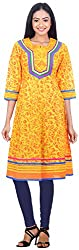 NavRachna Women Yellow Cotton Arinted Anarkali with Contrast Print Yoke Highlighted with Multi-Colour Piping (NV03_84-YELLOW_42)