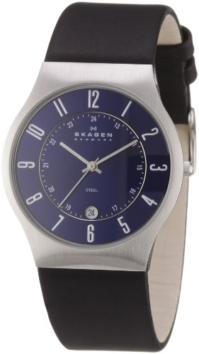 Skagen Designs Men's Leather Analogue Watch 233XXLSLN with Blue Dial