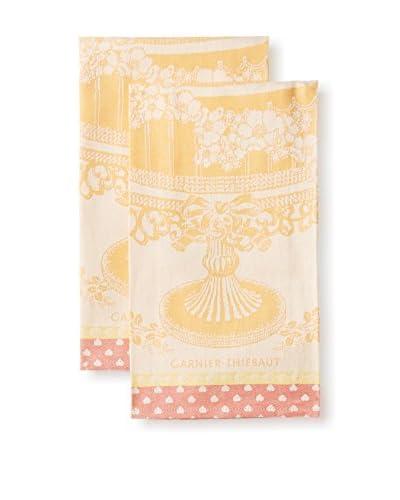 Garnier Thiebaut Set of 2 Ceremonie Tor Mandarine Kitchen Towels