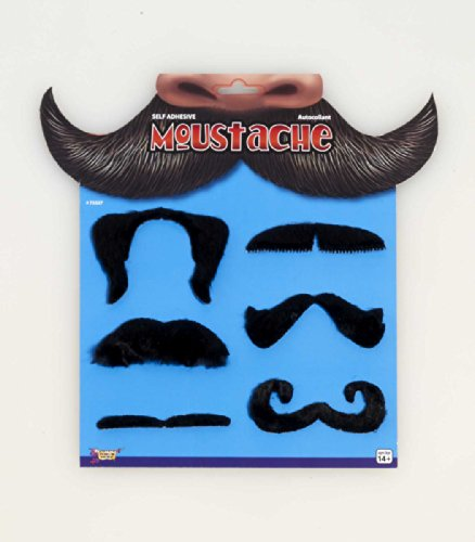Forum Mens Black 6 Moustache Set Costume Mustache Accessory