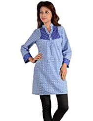 NAzAqAt Trouser Length Kurti Base Colour Blue With Digital Print All Over And Contrast Dark Blue Printed Yolk...