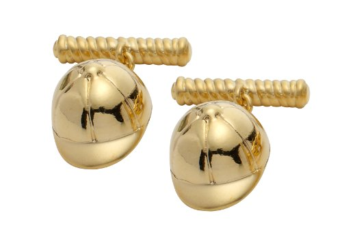Code Red Gold Plated Jockey Cap Cufflinks with Chain Link