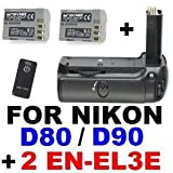 Professional Battery Grip MB-D80 for Nikon D90 D80 with IR Remote and 2x EN-EL3e Lithium-Ion Batteries