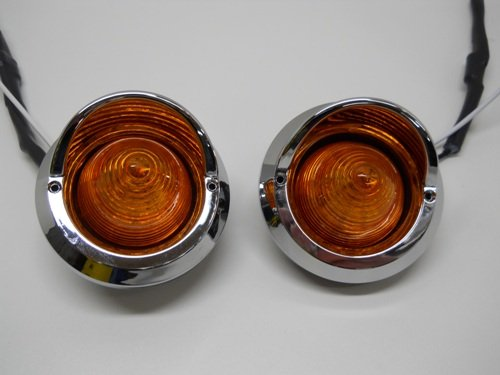 "(2) Amber 2"" Round 9 Led Beehive Mini Marker Turn Signal Lights / Golf Carts"