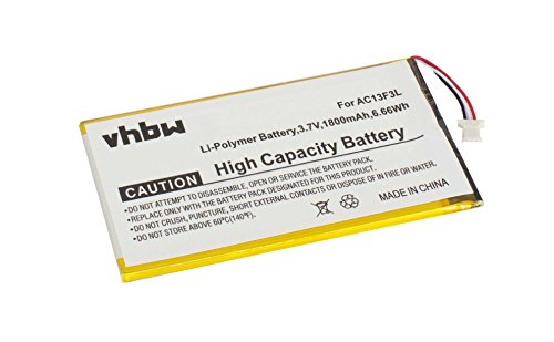 Batterie vhbw 1800mAh (3.7V) pour tablette Acer Iconia Tab B1-710, B1-A71, B1-A71-83174G00nk remplace BAT-715(1ICP5/58/94), KT.0010G.002D.