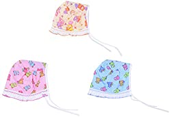 Dream Baby Cotton Square Frill Cap - Set of 3 (Multi-Coloured, 0-3 months)