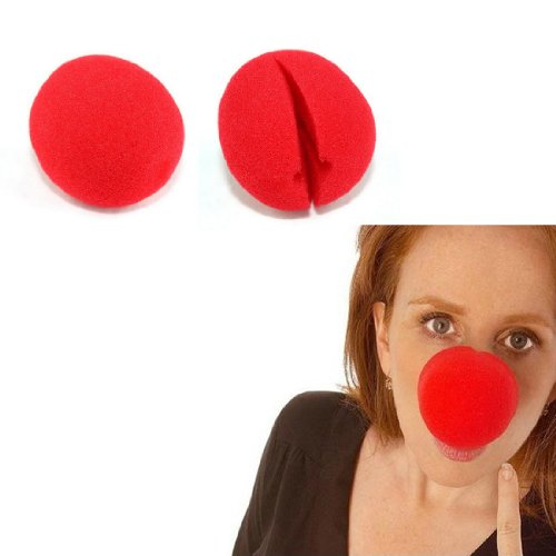 Renineic Clown Nose Circus Party Halloween Costume Red,10pcs Set
