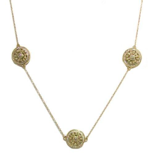 Just Give Me Jewels Goldtone Vintage Style Filigree Medallion Station Necklace