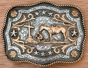 AndWest Antiqued Silver With Gold Praying Cowboy Scallop Belt Buckle