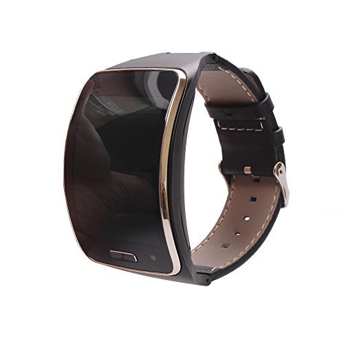 V-MORO? Samsung Gear S Band, Premium Leather Band Samsung Smartwatch Replacement Strap Band for Samsung Gear S (Black)