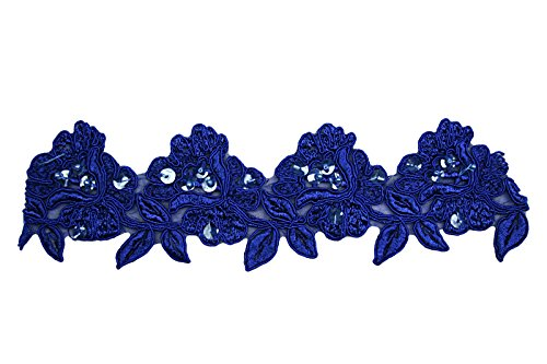 "Purchase Altotux 3.5"" Red, Royal Blue, Burgundy, Green Embroidery Beaded Lace Trim (Roayl Blue)"