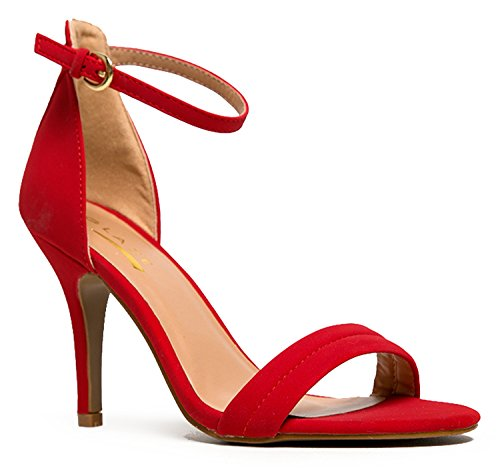 Women's Ankle Strap High Heels | Dress Wedding Party Heeled Sandals | Elegant Formal Comfortable & Strappy Basic Pump Low Heel (Red Strappy Heels compare prices)