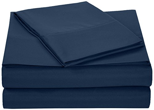 AmazonBasics Microfiber Sheet Set - Twin Extra-Long, Navy Blue (Extra Long Deep Twin Sheets compare prices)