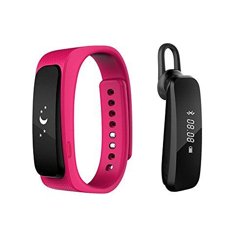 2016 neue Entwurfs-Universal-Bluetooth-Headset mit 0,91-Zoll-OLED-Multifunktions -Smart Watch abnehmbares Armband Fitness Tracker Funkkopfhörer für Apple iPhone 6/5S/5C/5, iPhone 4S/4, Samsung Galaxy S5/S4/S3, LG, PC Laptop, und anderen Bluetooth-Gerät (rot)