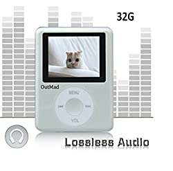 OutMad Silver Economic Mp3 Mp4 Player - 32 GB Micro Sd Card Included - 1.81 LCD Slim Portable Mp3/mp4+ Mini Usb2.0 Cables