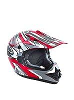 Akira Casco de Moto Ishido Motocross (Rojo / Gris)