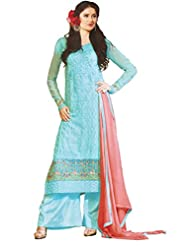 Namrah Collection Women's Georgette Straight Salwar Suit (2605, Light Blue)