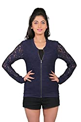 LondonHouze Lace Full Sleeves Zipper (Small, Navy)