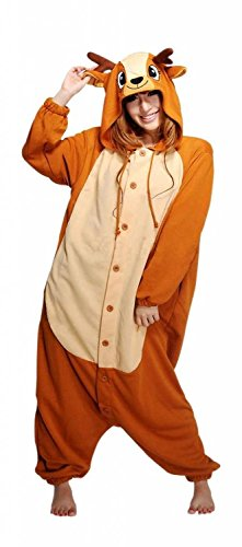 Women Men Sika Deer Unisex Adult Animal Sleep Suit Cosplay Kigurumi Costume Pajamas Outfit Costume Nightclothes Onesies Clothing Pajamas Tracksuit