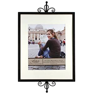 Fetco Home Décor Hollimon Scroll Matted Picture Frame with Scroll Top and Wall Bar, 11 by 14-Inch, Tuscan Bronze
