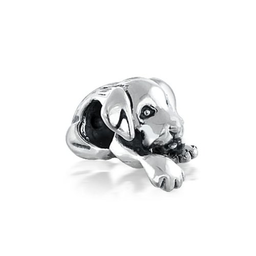 Bling Jewelry 925 Silver Cute Puppy Dog Bead