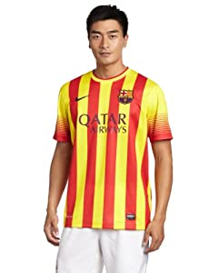 NIKE Men's Football Jersey FC Barcelona Away Away Replica Vibrant Yellow/Midnight Navy Size:S