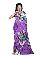 Bansy Fashion Purple Coloured Faux Georgette Printed Saree/Sari