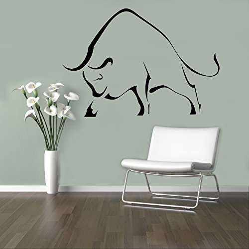 Bull Taurus Wall Decal Wild Animals Vinyl Sticker Home Decor Ideas Wall Art Interior Removable Design 3(bfb)