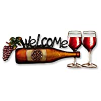 Wine Bottle Garden Wall Art with Welcome Message by Direct Global Trading