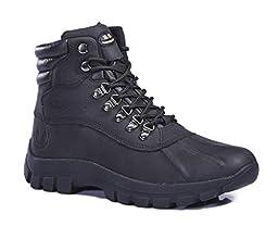 KingShow Men\'s Waterproof Leather Boots Snow Winter Black Size 9.5