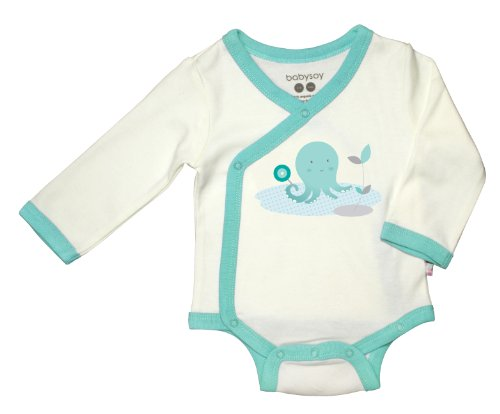 Baby Soy Illustrated O Soy Organic Kimono Bodysuit, 0-3 Months, Octopus
